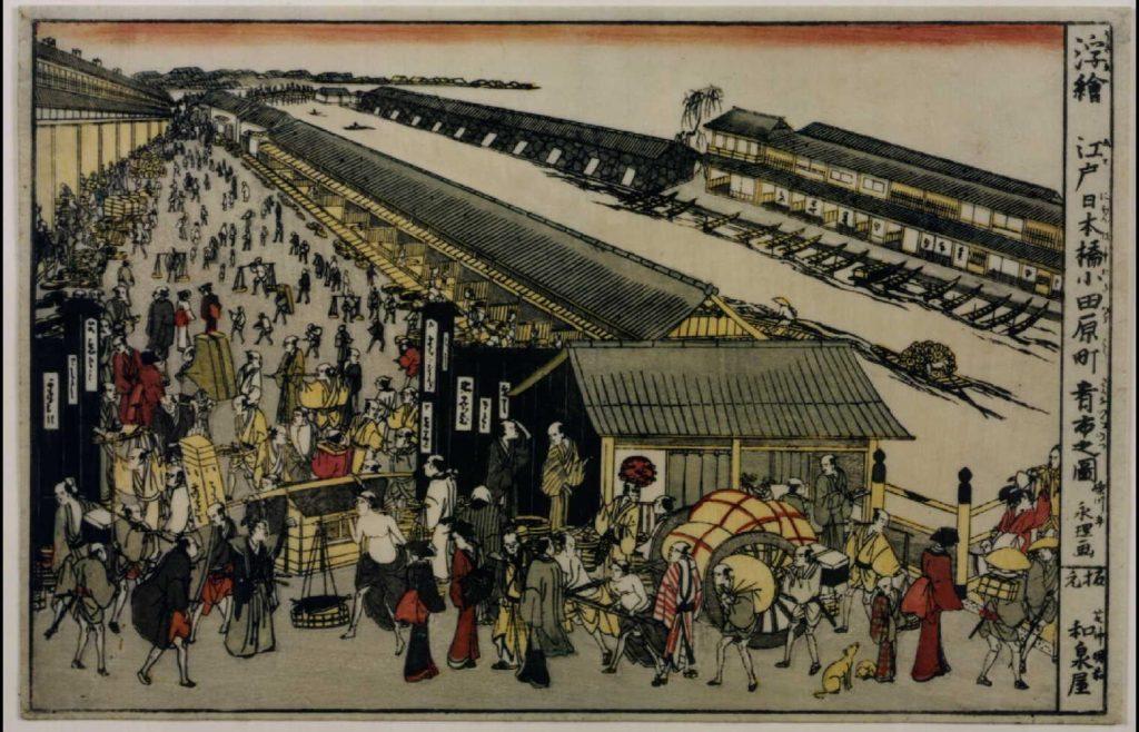 作品画像:浮絵 江戸日本橋小田原町肴市之図