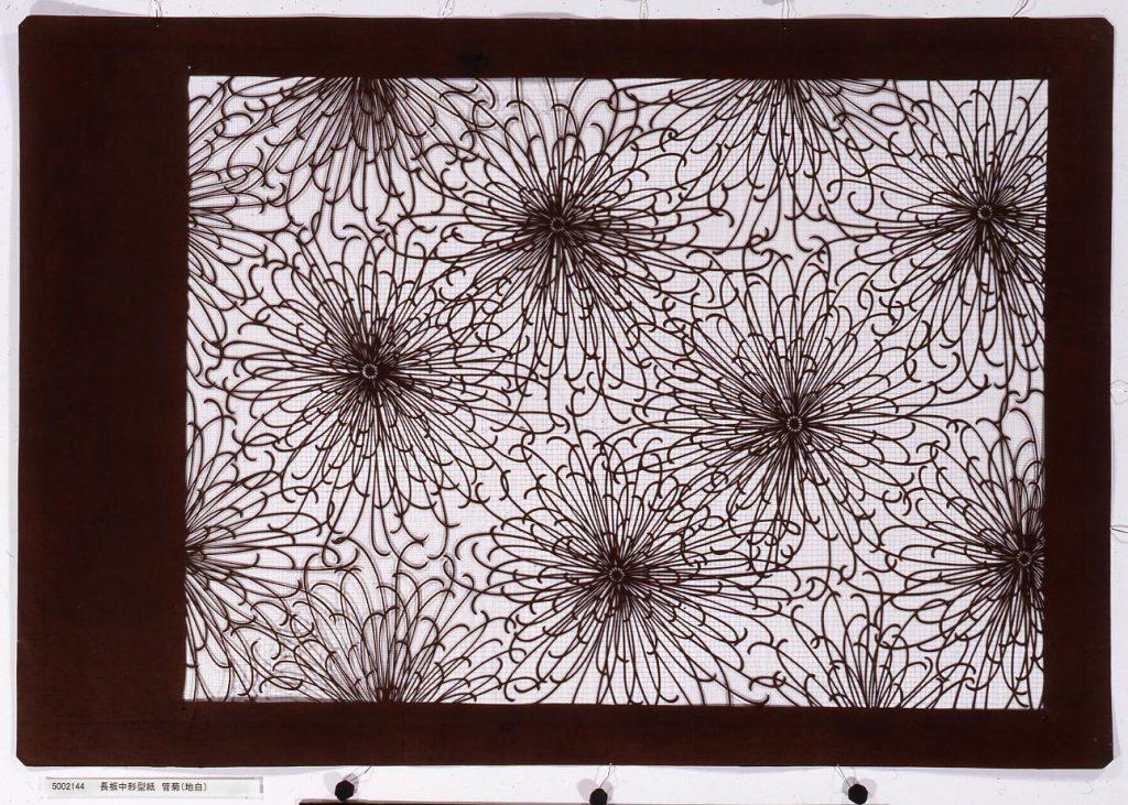 作品画像:長板中形型紙 管菊(地白)