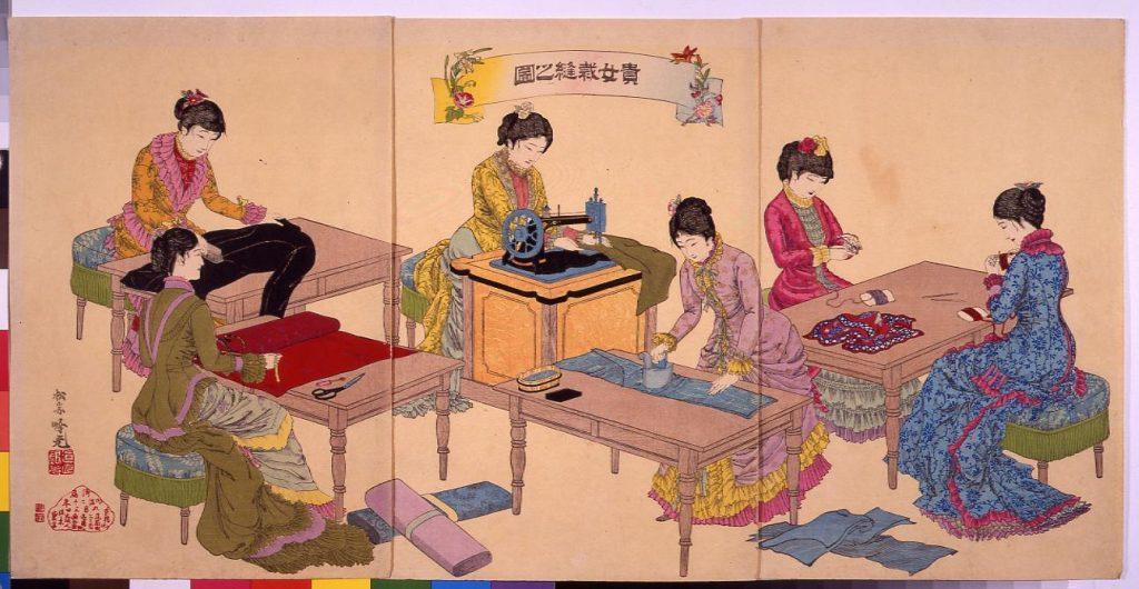 作品画像:貴女裁縫之図