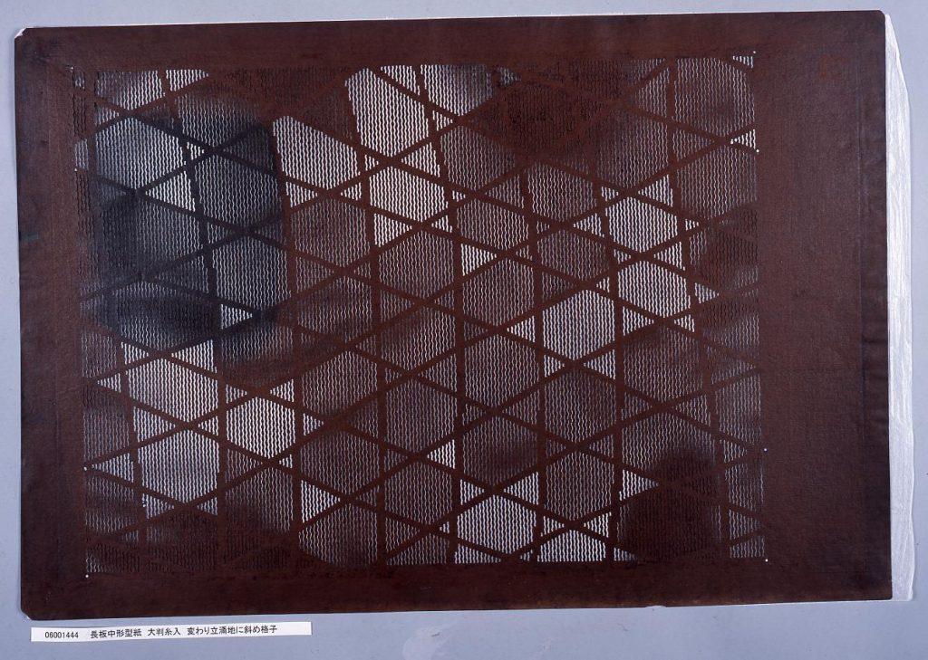作品画像:長板中形型紙 大判糸入 変わり立涌地に斜め格子
