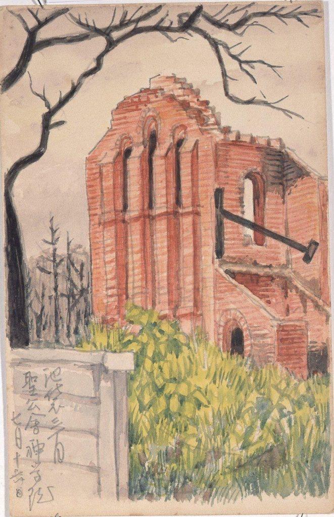作品画像:東京戦災スケッチ63 池袋三丁目聖公会神学院