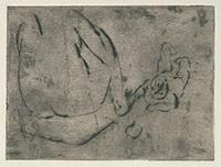 作品画像:座る裸婦とりんごを見る子供