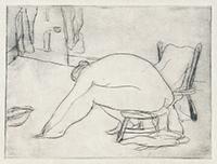 作品画像:左向きの足にふれる裸婦