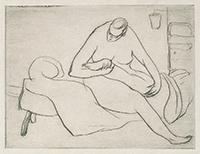 作品画像:左足をみる裸婦