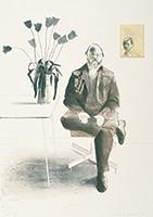 作品画像:腰掛けたヘンリーとチューリップ