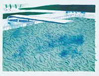 水のリトグラフ(線、2種類のライトブルーの淡彩)