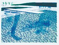 作品画像:水のリトグラフ(太線、細線、2種類のライトブルーの淡彩)