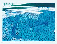 作品画像:水のリトグラフ(太線、細線、ライトブルー、ダークブルーの淡彩)