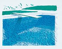 作品画像:リトグラフの水(線、クレヨンと2種類のブルーの淡彩)