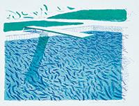 作品画像:リトグラフの水(線、クレヨン、ブルーの淡彩)