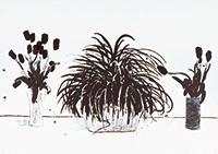 作品画像:切花の入った2つの花瓶と観葉植物