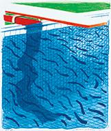 作品画像:紙と青いインクによるプール