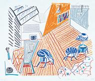 作品画像:青い椅子とランプのあるペンブローク・スタジオ