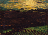 作品画像:夕日の沈む丘