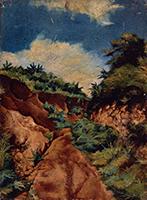作品画像:崖と道