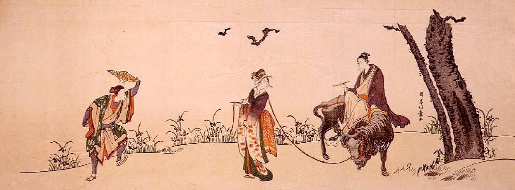 作品画像:牛に乗る若衆(見立牡丹花肖柏)