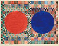 作品画像:赤と紺の丸