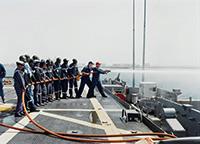 作品画像:<陸上の出来事>シリーズ ダメージコントロール演習、軽巡洋艦ナッシュビル、セネガル、ダカール