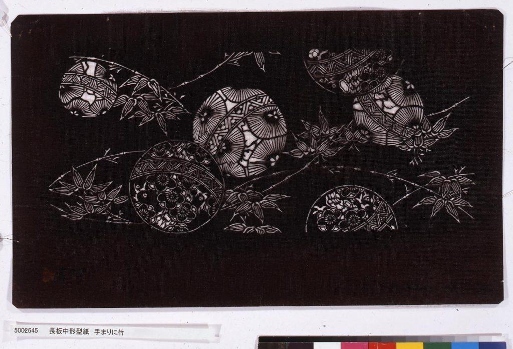 作品画像:長板中形型紙 手まりに竹