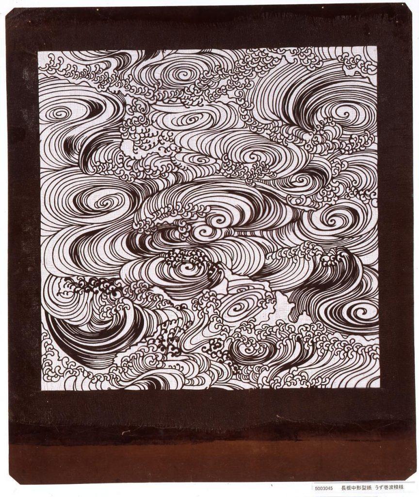 作品画像:長板中形型紙 うず巻波模様