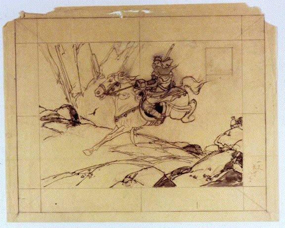 作品画像:下絵 騎馬図