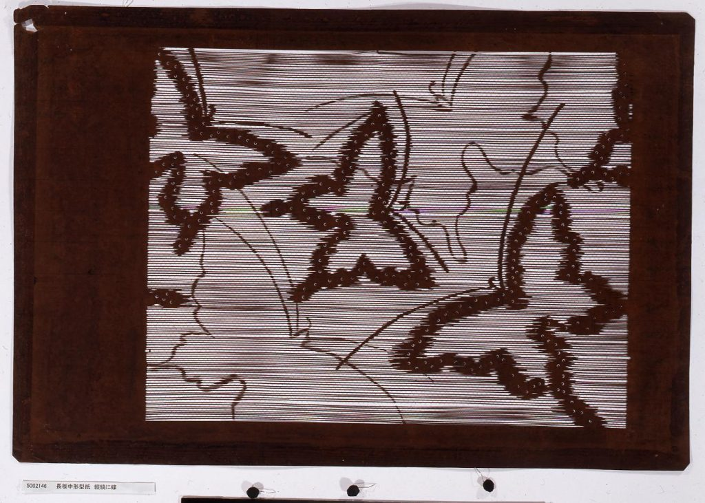 作品画像:長板中形型紙 縦縞に蝶