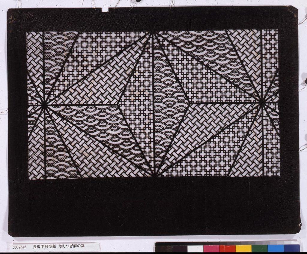作品画像:長板中形型紙 切りつぎ麻の葉