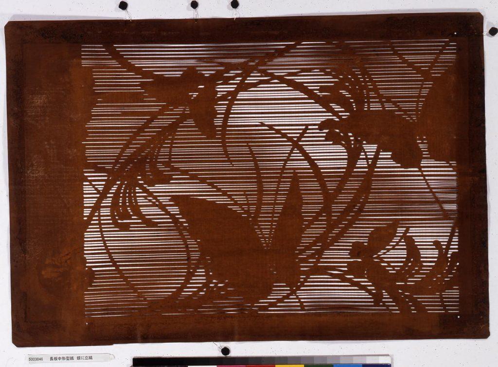 作品画像:長板中形型紙 蝶に立縞