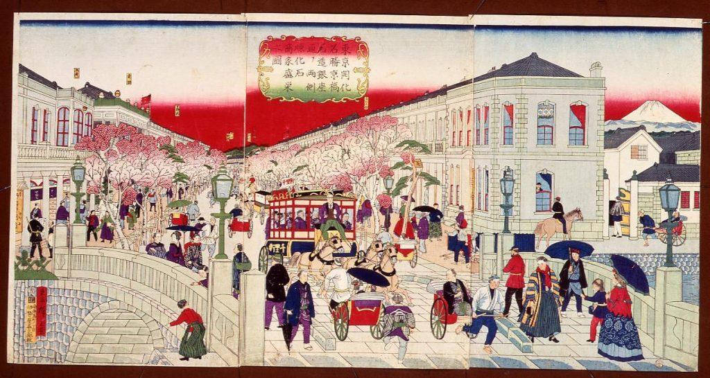 作品画像:東京開化名勝京橋石造銀座通り両側煉化石商家盛栄之図
