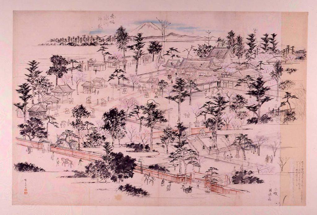 作品画像:赤坂氷川神社図(下絵)