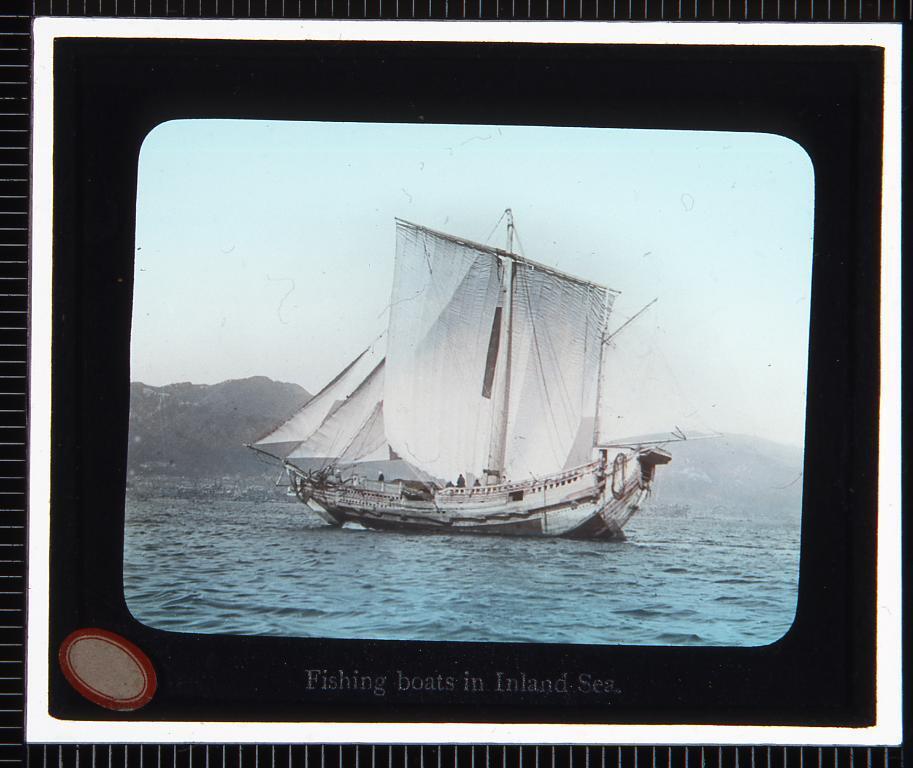 瀬戸内海 漁船(幻灯原板)