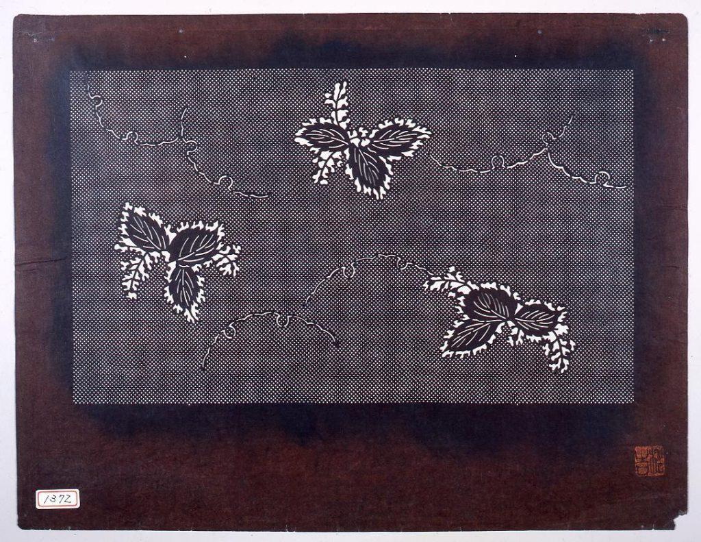 作品画像:長板中形型紙 桐に小紋
