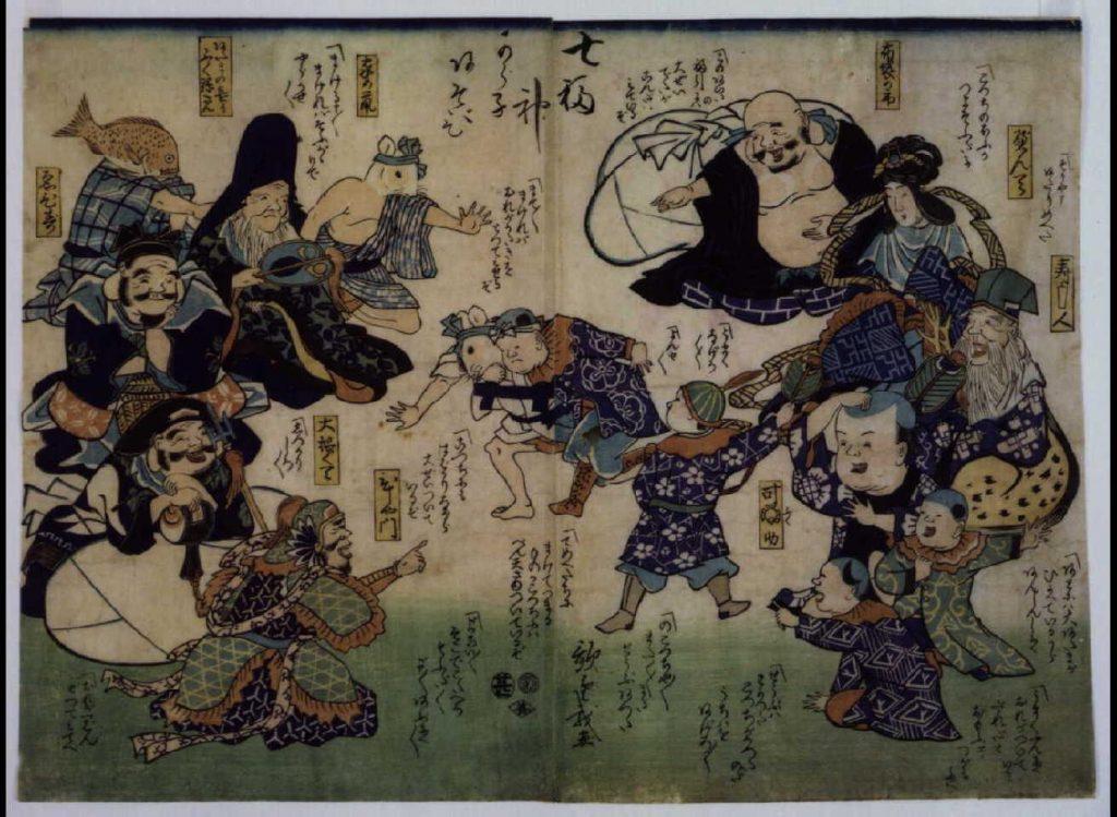 作品画像:幕末頃子供遊絵 七福神から子あそび