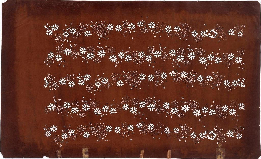 作品画像:長板中形型紙 花つなぎ(大判 追掛)