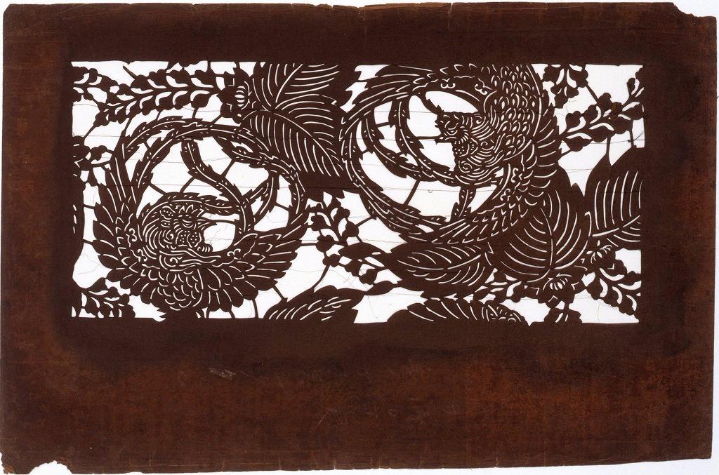 作品画像:長板中形型紙 桐に鳥