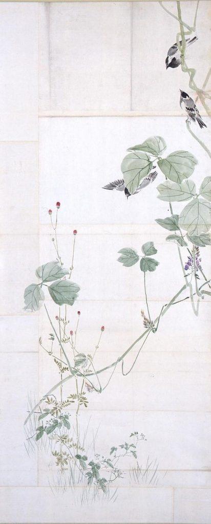 作品画像:粉本 蔓草と鳥