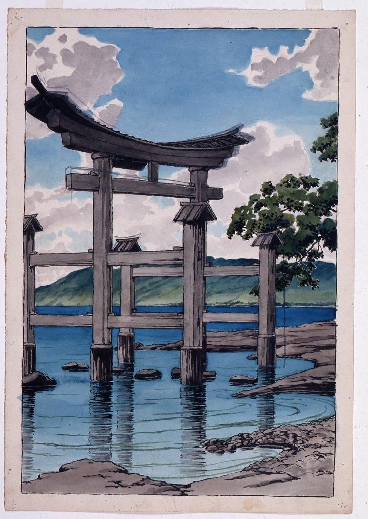 作品画像:旅みやげ第三集 田沢湖御座の石 原画