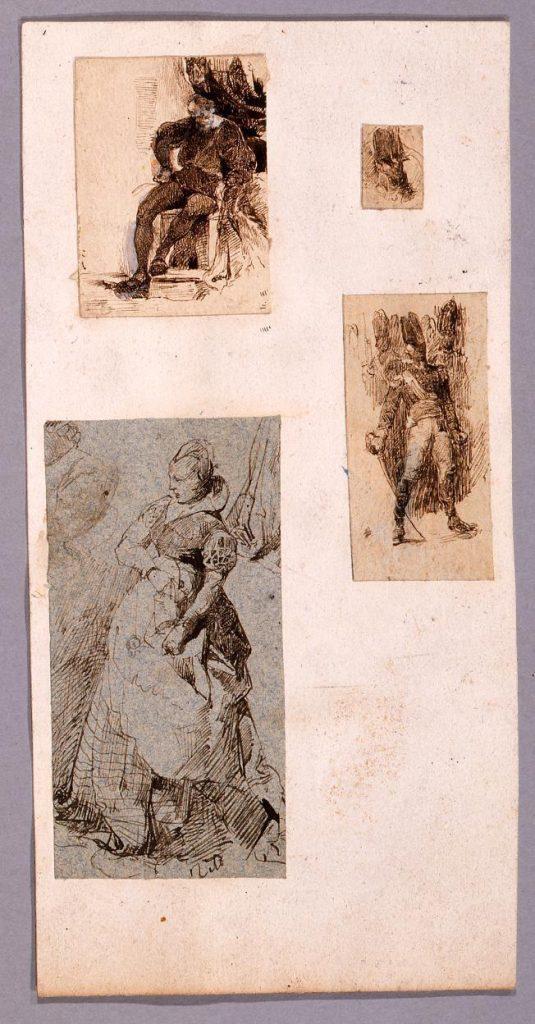 作品画像:素描 腰掛ける男,男性頭像,女性,剣を持つ男