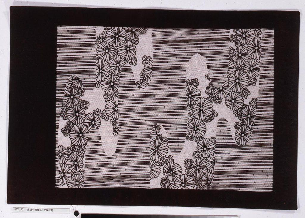 作品画像:長板中形型紙 立縞に菊