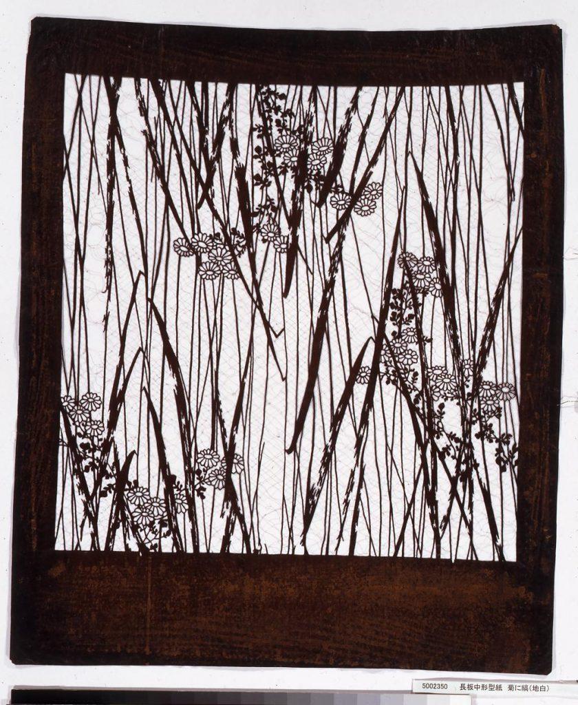 作品画像:長板中形型紙 菊に縞(地白)