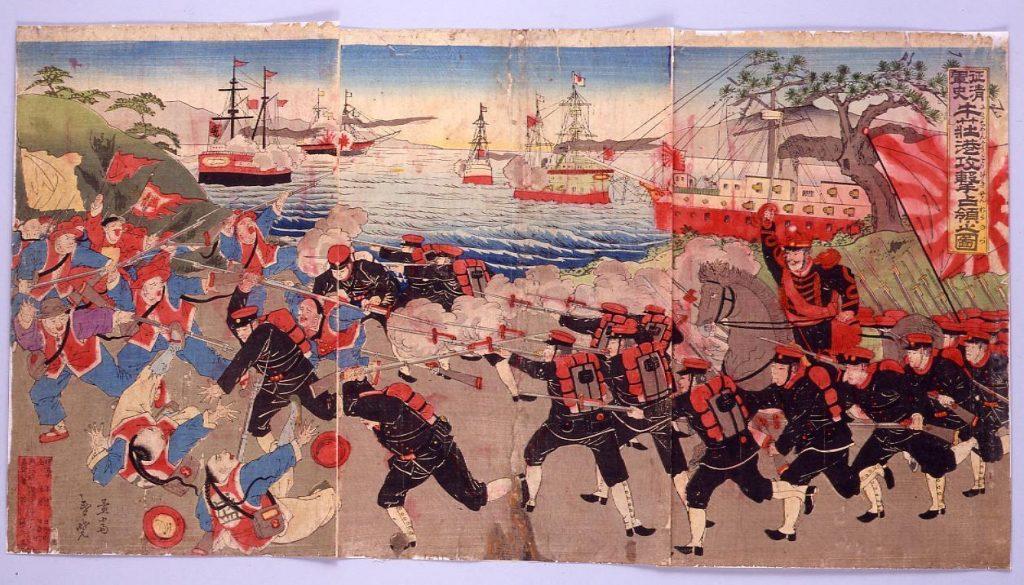 作品画像:征清軍史 牛荘港攻撃占領之図