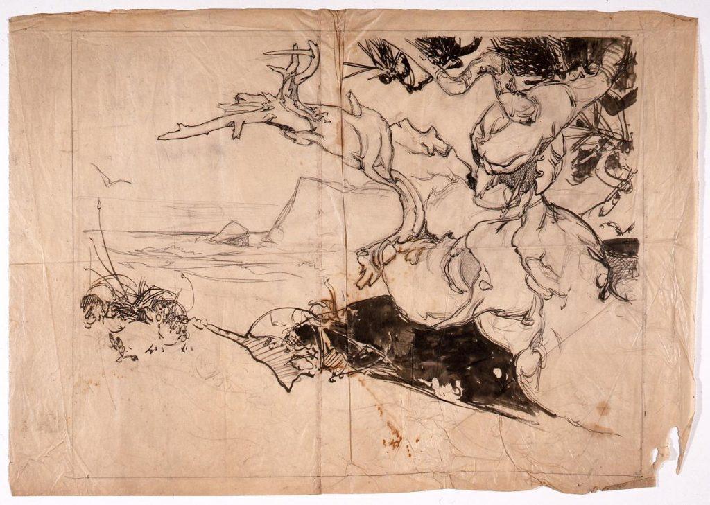 作品画像:下絵 巨木海浜図