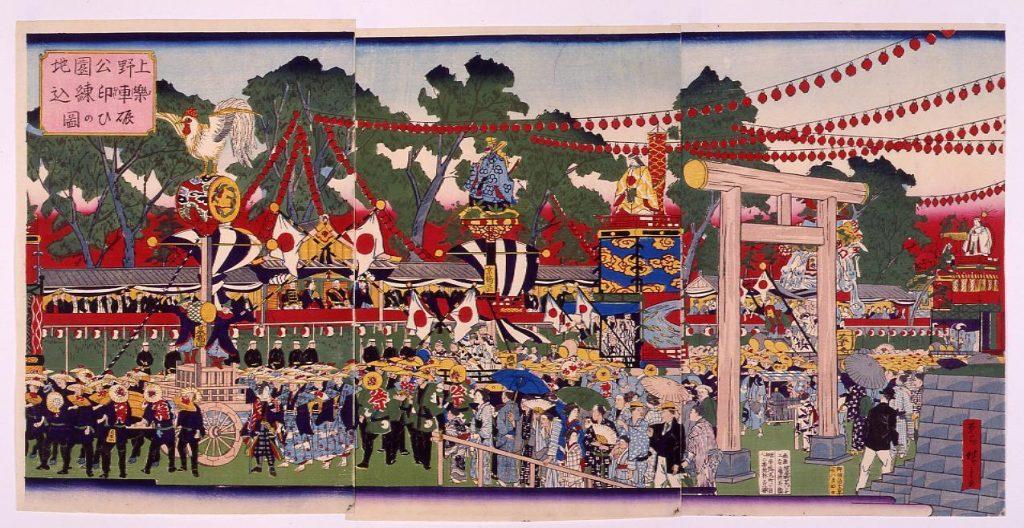作品画像:上野公園地楽車印練込賑ひの図