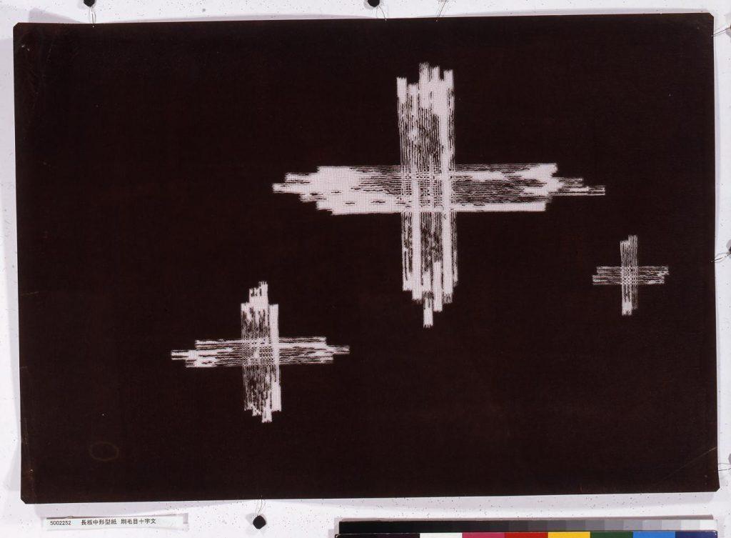 作品画像:長板中形型紙 刷毛目十字文