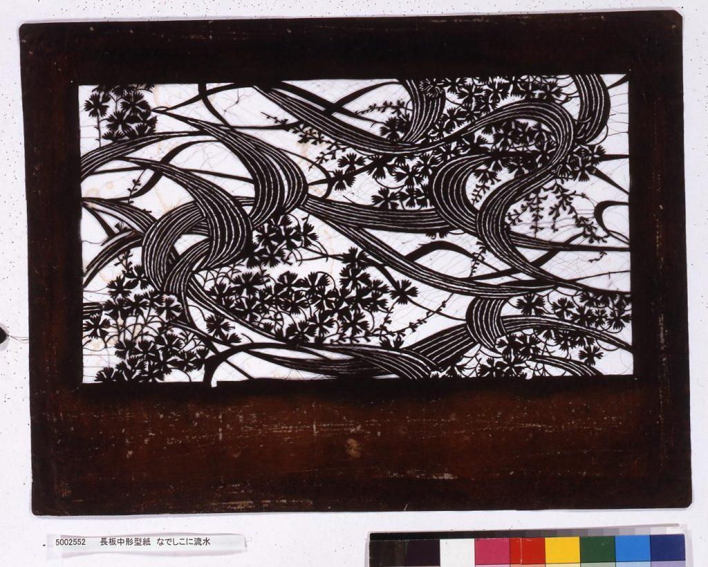 作品画像:長板中形型紙 なでしこに流水
