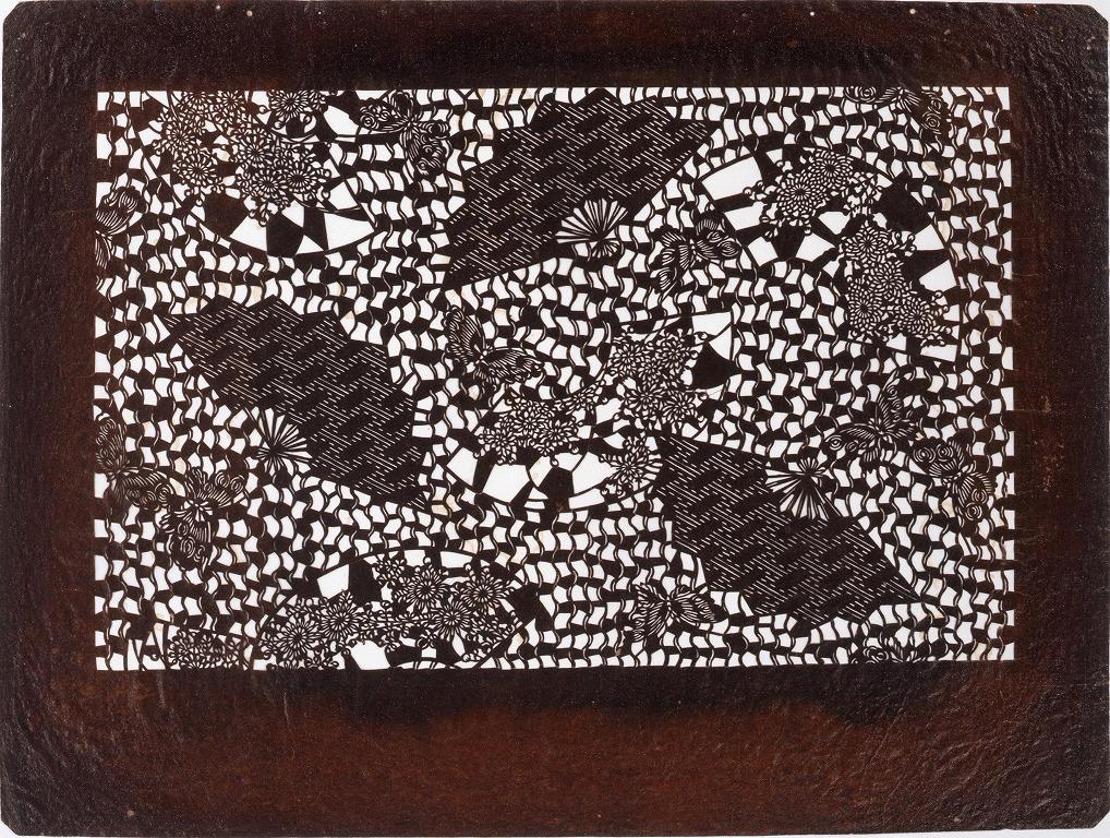 作品画像:長板中形型紙 扇面によろけじま (小判 追掛)