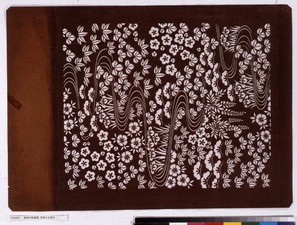 作品画像:長板中形型紙 吹きよせ流水