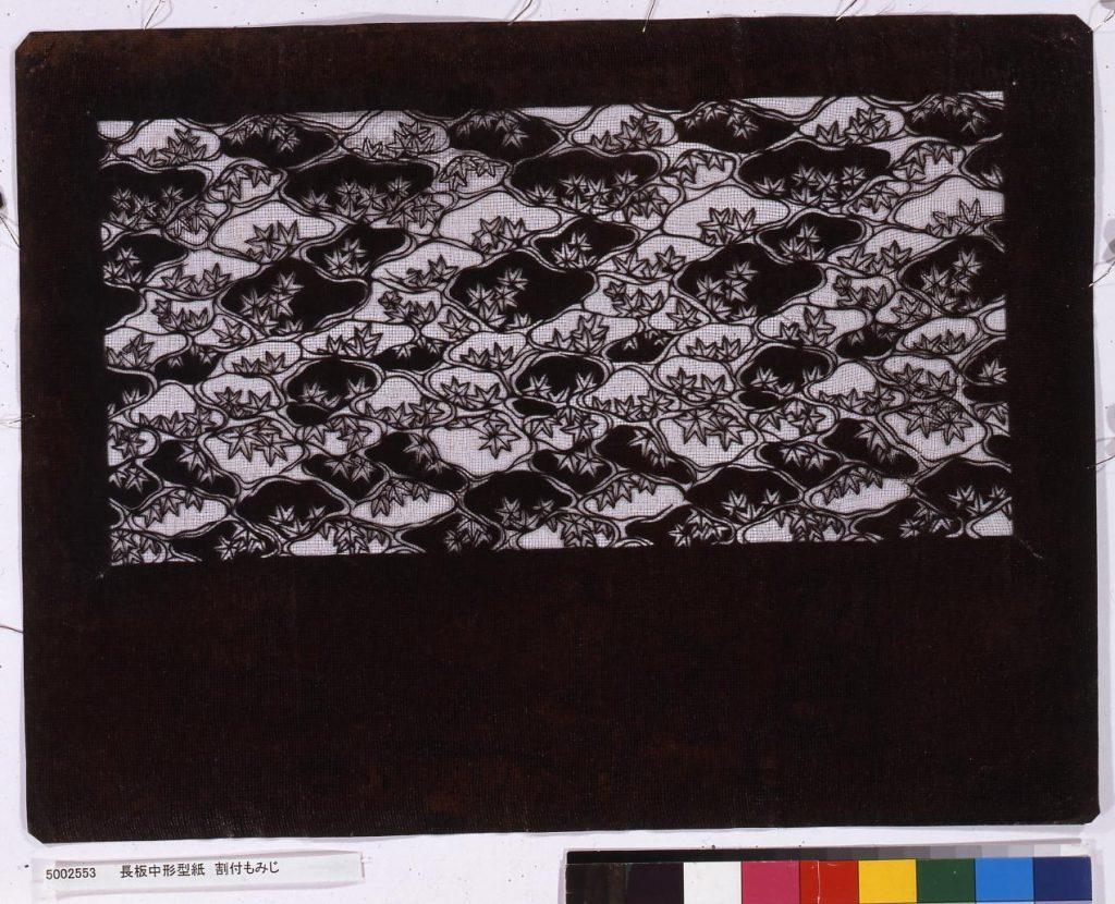 作品画像:長板中形型紙 割付もみじ