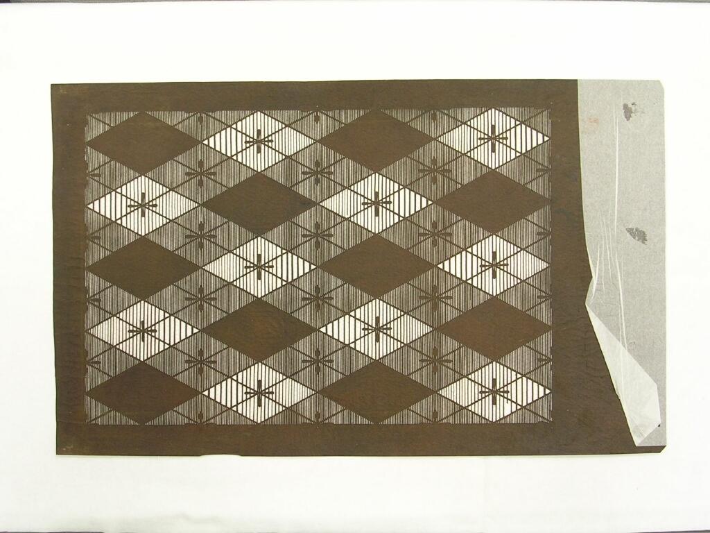 作品画像:長板中形型紙 大判糸入 割付菱格子