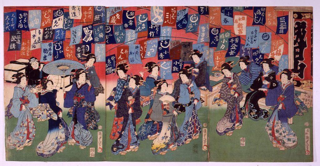作品画像:成田山芸妓参詣図